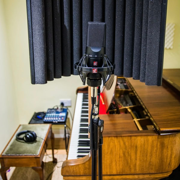 Vocal recording with piano in studio Leeds